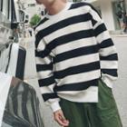 Slit-hem Striped Pullover