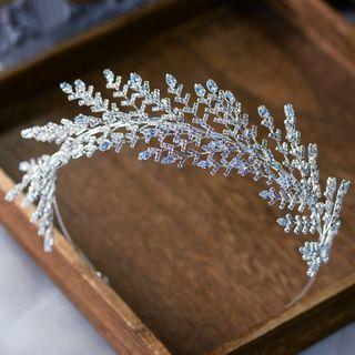 Wedding Leaf Rhinestone Headband Headband - Silver - One Size