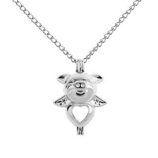 Heart & Pig Pendant Necklace Silver - One Size