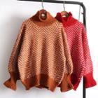 Lantern-sleeve High Neck Sweater