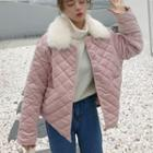 Furry Collared Quilted Jacket