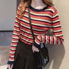 Striped Ruffled Knit Top