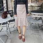 Ruffle-hem Glen-plaid Skirt