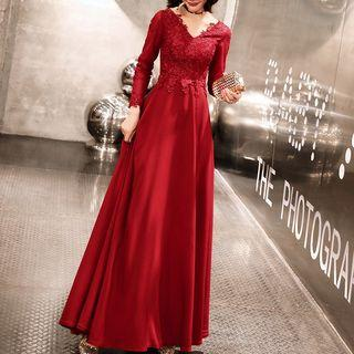 Long Sleeve Lace Panel A-line Evening Gown