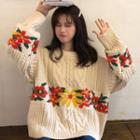 Floral Cable-knit Chunky Sweater