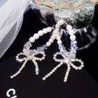 Rhinestone Bow Faux Pearl Drop Earrings Silver - One Size