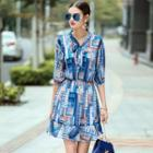Elbow-sleeve Tie-neck Printed Dress