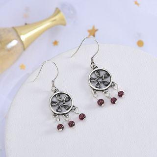 925 Sterling Silver Beaded Dangle Earring 1 Pair - Es1044 - Silver - One Size