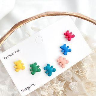 3 Pair Set: Bear Earring Set Of Three - As Shown In Figure - One Size