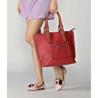 Side-stitch Faux Leather Tote Red - One Size