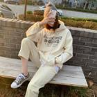 Fleece-lined Letter Hoodie Cream - One Size