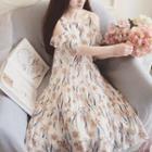Floral Print Cut Out Shoulder Short Sleeve Midi Chiffon Dress