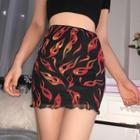 Fire Print Mini Pencil Skirt