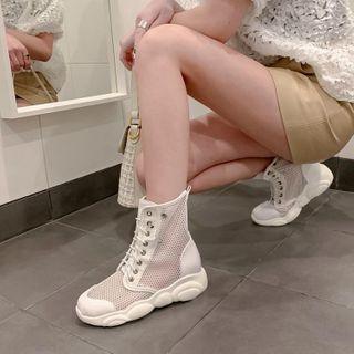 Lace Up Platform Mesh Ankle Boots