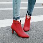 Kitten-heel Studded Ankle Boots