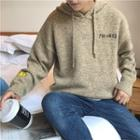 Long-sleeve Hooded Embroidered Knit Top