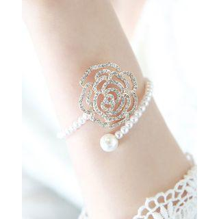 Openwork Rose Faux-pearl Open Bangle