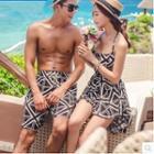 Couple Matching Patterned Beach Shorts / Halter Swimdress / Swim Bottom / Set
