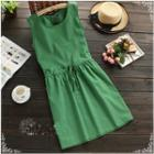 Plain Sleeveless Drawstring Waist Dress