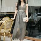 Sleeveless A-line Midi Pleated Dress