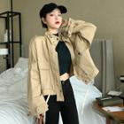 Cropped Zip Jacket Khaki - One Size