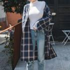 Open-front Plaid Long Jacket