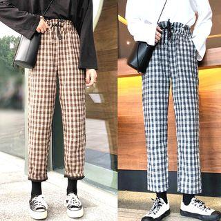Drawstring Waist Checked Pants