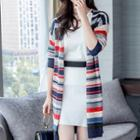 Striped Slit-hem Knit Long Cardigan