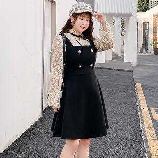 Bell-sleeve Lace Blouse / Buttoned A-line Mini Pinafore Dress