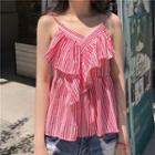 Stripe Frilled Spaghetti Strap Top
