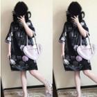 Floral Midi-sleeve Qipao Dress