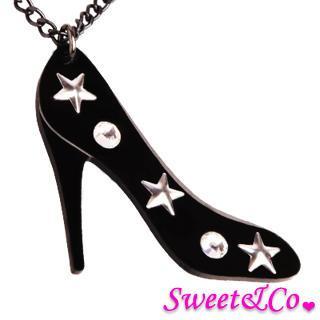 Xl Star Studs Swarovski Crystals Necklace Black - One Size