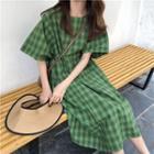 Short-sleeve Gingham A-line Dress