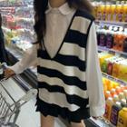 Striped Knit Vest / Long-sleeve Plain Shirt / Mini Pleated Skirt