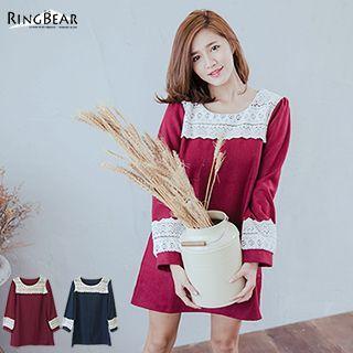 Long-sleeve Lace Panel Woolen Dress