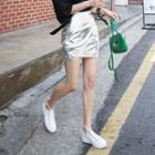 Shirred Metallic Mini Skirt