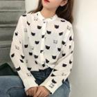 Cartoon Print Blouse White - One Size
