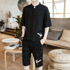 Set: Crane Embroidered Short Sleeve T-shirt + Shorts