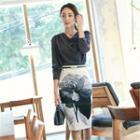 Rosette Print Pencil Skirt