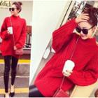 High Neck Long Chunky Knit Sweater