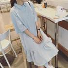 Elbow-sleeve Polo Dress