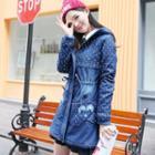 Padded Hooded Zip Denim Coat