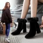 Genuine-leather Chunky-heel Fleece-trim Ankle Boots