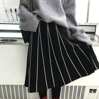 Striped Knit A-line Skirt