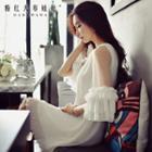Ruffle-sleeve Pleated Chiffon Dress