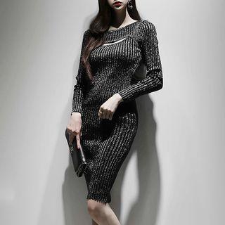 Long-sleeve Cutout Sheath Knit Dress Black - One Size