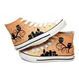 Lace-up Painted High-top Canvas Sneakers