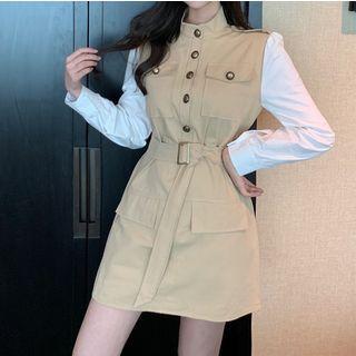 Set: Mock Two-piece Long-sleeve Mini Dress + Belt