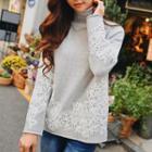 Lace Panel Turtleneck Sweater