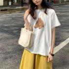 Short-sleeve Bear Printed T-shirt White - One Size